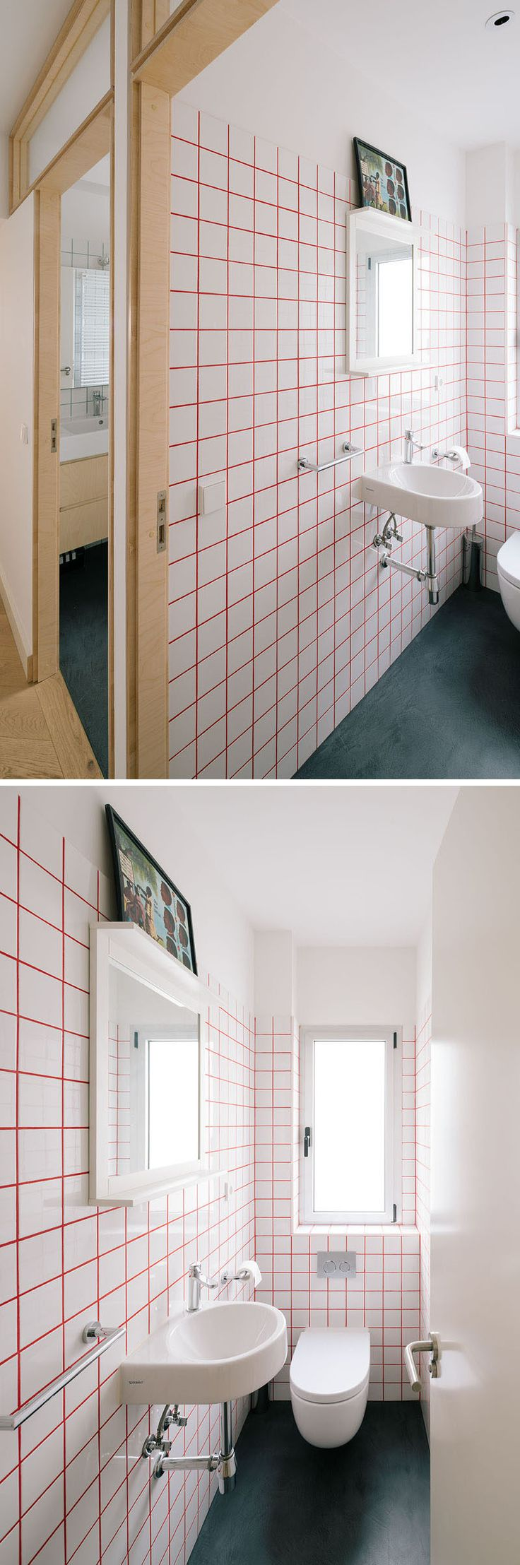 Bright red grout was used between square white tiles to brighten up this bathroom.