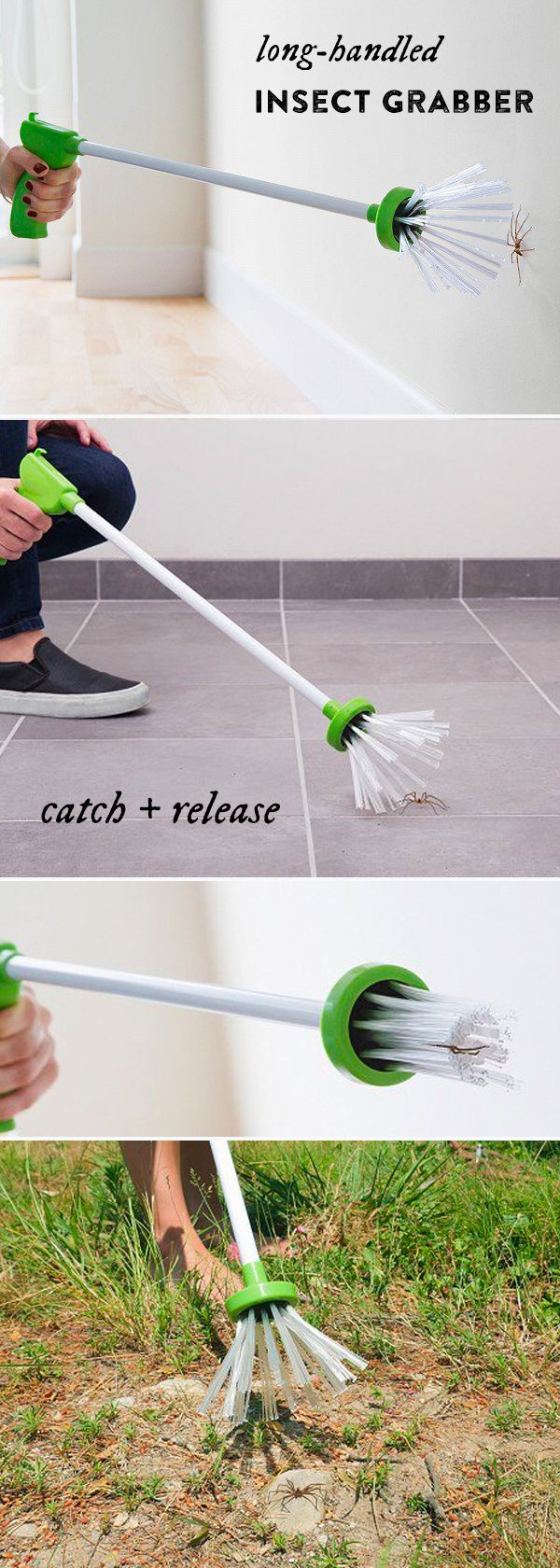 Safe, comfortable bug catching—for both you and the critter. A long handle keeps you at arm's length, while bristles trap the bug without harming it. The tool for spider lovers and haters alike.