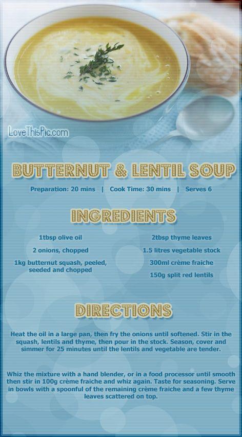 Butternut and Lentil Soup Recipe soup recipes healthy healthy recipes soup recipes starter starter recipes