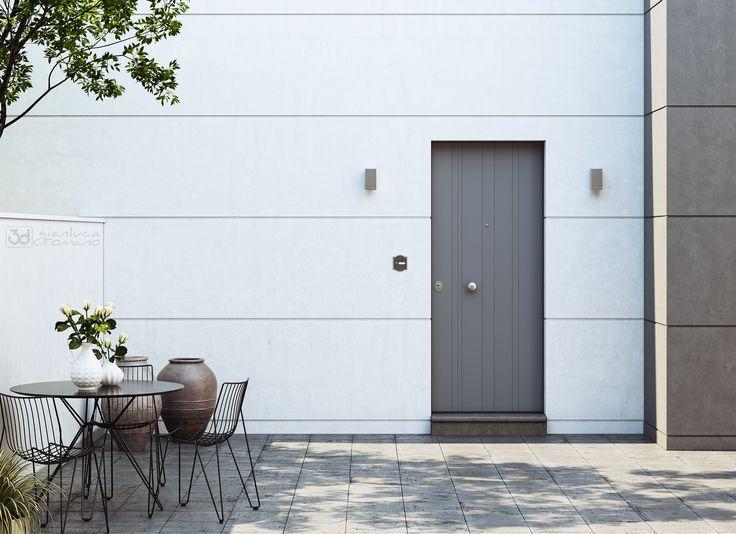 Render di un esterno realizzato per la brouchure dell'azienda di porte blindate Mister Shut. Il modello rappresentato si chiama Avant.