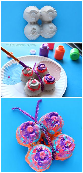 Egg Carton Butterfly Craft for Kids! Love upcycled art projects! | CraftyMorning.com