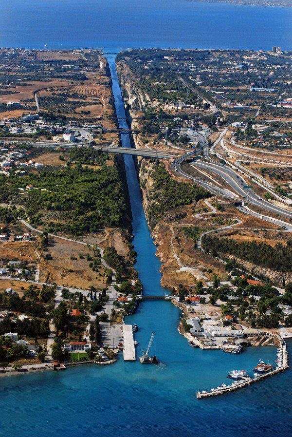 Corinth Canal/ When you see the depth from the bridge and realize men dug that by hand.. amazing..