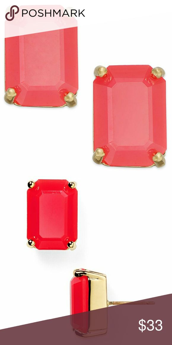 Kate Spade Stud Earrings Geranium Color NWT Kate Spade Stud Earrings Emerald Cut Geranium Color NWT, Classic Versatile Emerald Cut Stud Earrings Epoxy Stones Set In Gold Tone Mixed Metal Comes With Kate Spade Gift Sleeper/Gift Bag kate spade Jewelry Earrings