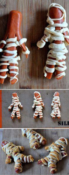 Hot dog d'Halloween pour amuser vos enfants ou encore pour amuser vos amis lors du party d'Halloween.