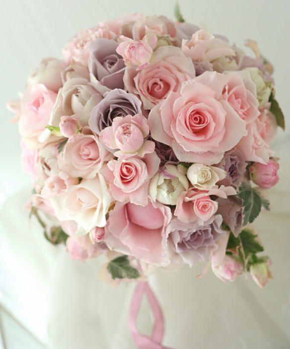 ティアドロップ バラ;ピンクオーブカラーのブーケ : 一会 ウエディングの花