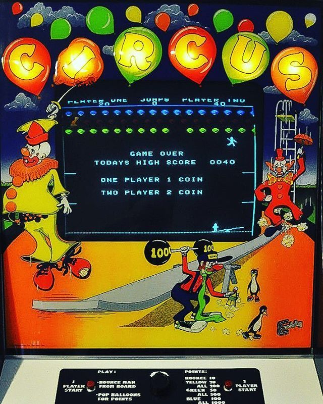 WEBSTA @favoritevideogamessince71 Circus (1977 Arcade By Exidy). The game is a re-themed variant of Atari's Breakout, where the player controls a seesaw and clown in order to pop all the balloons in the level. Gameplay: https://youtu.be/BuZ7AnhVDT8