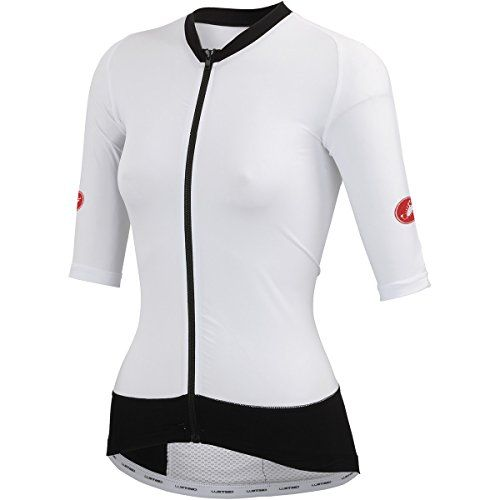 Castelli T1:Stealth Jersey - Short-Sleeve - Women's:   AN UNFAIR ADVANTAGE. Wind tunnel tested to show a 3-minute advantage on a 5-hour Ironman bike leg. We call it free speed. Well, almost.possibly the cheapest speed you can buy. Put this on after the swim and get to T2 3 minutes faster than with our Free Tri Suit alone. You can gain even more if you put it over some of our competitors' pieces we've tested in the wind tunnel. Get the bonus of sun protection and be ready to scorch the ...