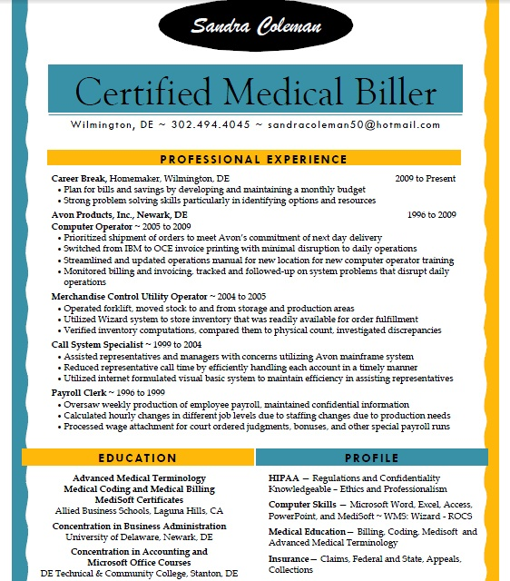 sandra coleman allied student resume medical billing medicalbilling resumes