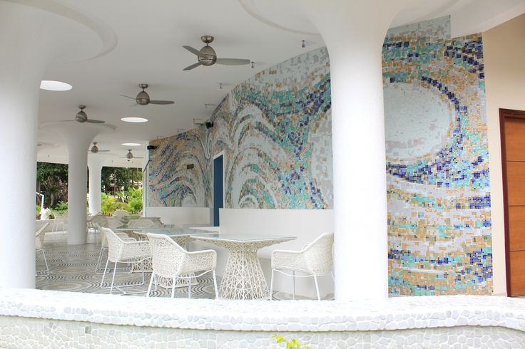 Beach Bar / Gecko Bar Interior of The Savoy Resort & Spa Hotel Seychelles. This unique resort is located on the Beau Vallon beach of Mahe Island in the Seychelles. Lighting: VERPAN VP GLOBE by Verner Panton. Furniture: KETTAL MAIA by Patricia Urquiola. The floor mosaic collection Wheel NEOGLASS SICIS #Realized #Design #Project #Interior #Restaurant #Beachbar #Gecko #Bar #Savoy #Hotel #Seychelles #Exotic #Furniture #KETTAL #Mosaic #SICIS #Architect and #Designer #Pavlovskaya…