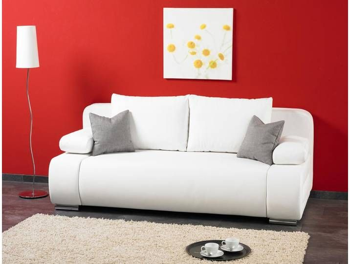 Schlafsofa Mit Gastebettfunktion Und Laminat Bettkasten In Weiss Feder Furniture Sofa Home Decor