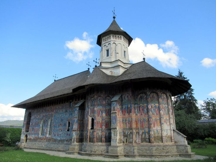 Moldovita Monastery in Bukovina, Romania, founded by Petru Rares in 1532, is famous for its 16th century exterior frescoes of Biblical stories.