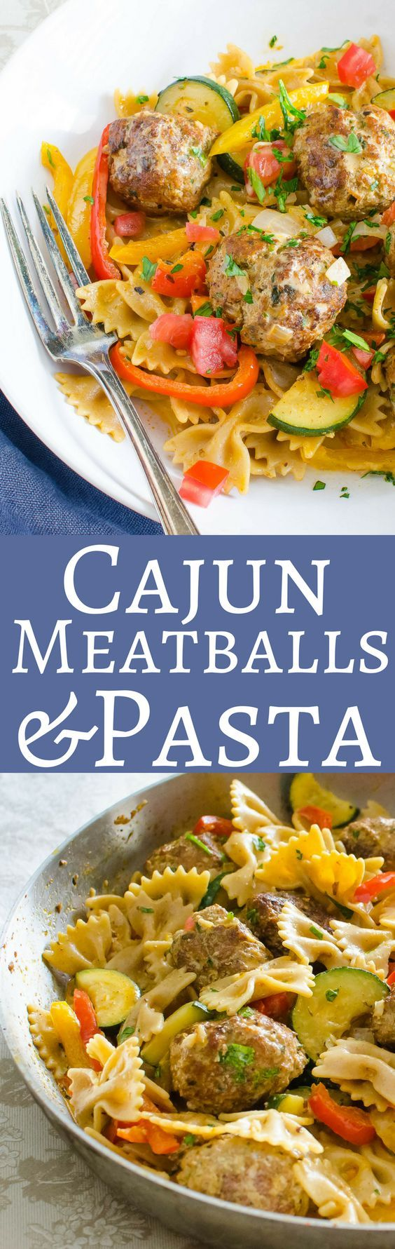 This easy comfort food recipe is loaded with veg, tender pork meatballs and spiked with a cajun cream sauce! Get the recipe for Cajun Meatballs and Pasta here! #pasta #bowtiepasta #cajun #mardigrasrecipes #mardigras #pork #porkmeatballs #cajuncreamsauce #creamsauce #zucchini #peppers #tomatoes #comfortfood #comfortfooddinner #easydinnerrecipes