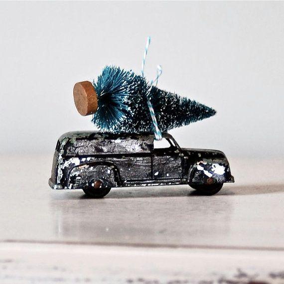 Toy Car Hauling Bottle Brush Tree