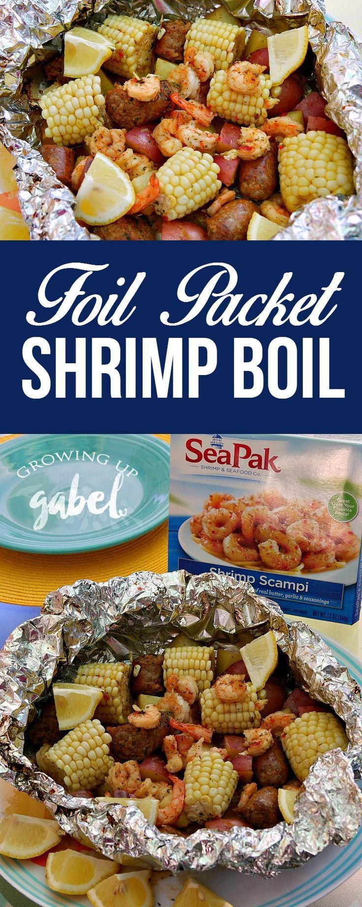 Frozen shrimp makes this foil packet shrimp boil easy to make for the oven, for the grill, or for camping! @SeaPak AD