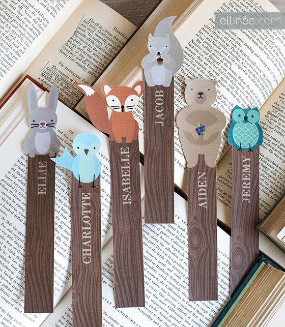 Editable Woodland Critter Bookmarks