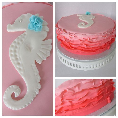 Coral Ombre Ruffle Seahorse Cake   Flickr - Photo Sharing!