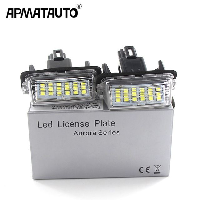 2pcs Canbus White For Toyota Yaris Vitz Camry Corolla Prius C Ractis Verso S Led Licence Number Plate Led Lamp Light Oem Replace Revie Yaris Number Plate Camry