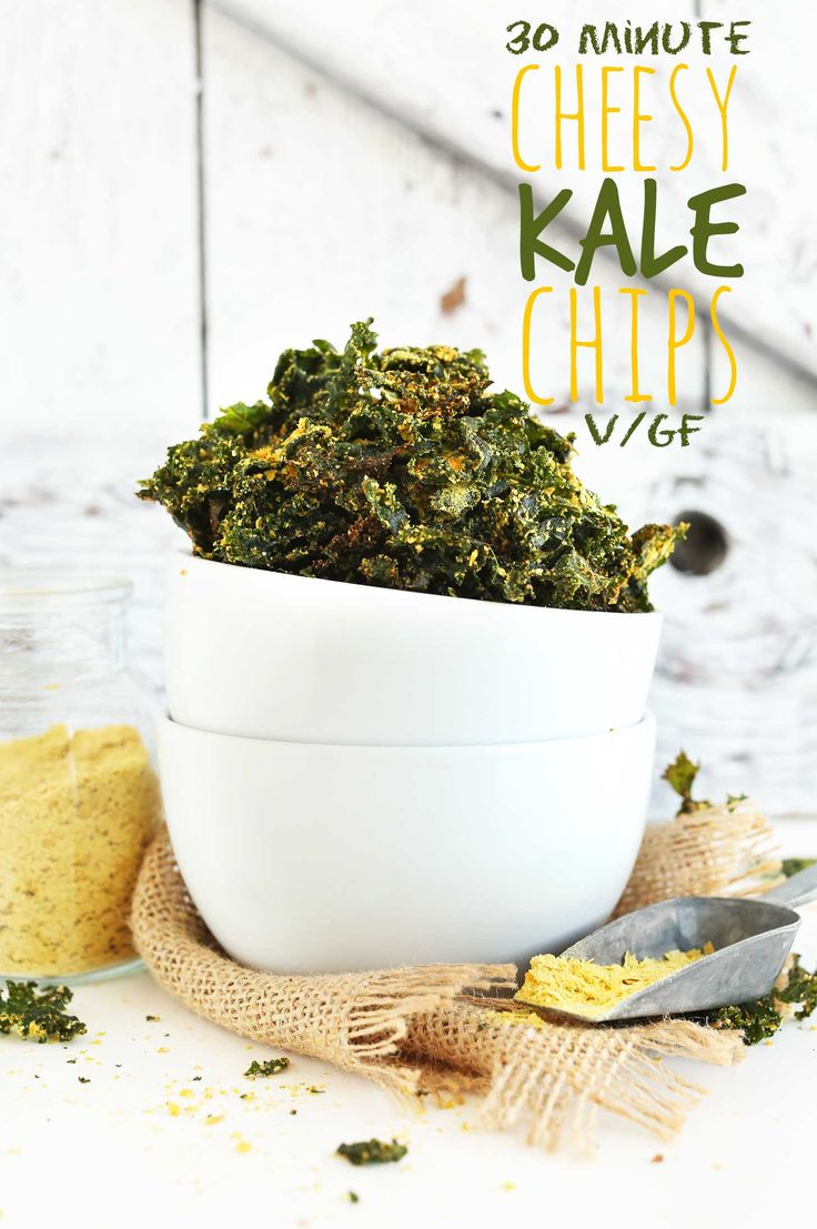 VEGAN CHEESY Kale Chips! So simple, 8 ingredients, 30 minutes, DELICIOUS! #vegan…