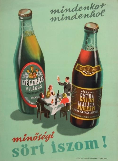 Hungarian beer ad, 1953. Aviso publicitario de cerveza hungara, 1953.  (lbk)
