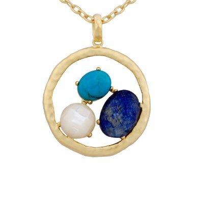 """18k Yellow Gold Plated Sterling Silver Lapis Lazuli, Chinese Blue Turquoise, White Shell and Crystal Doublets Pendant Necklace, 18"""": Jewelry: Amazon.com"""