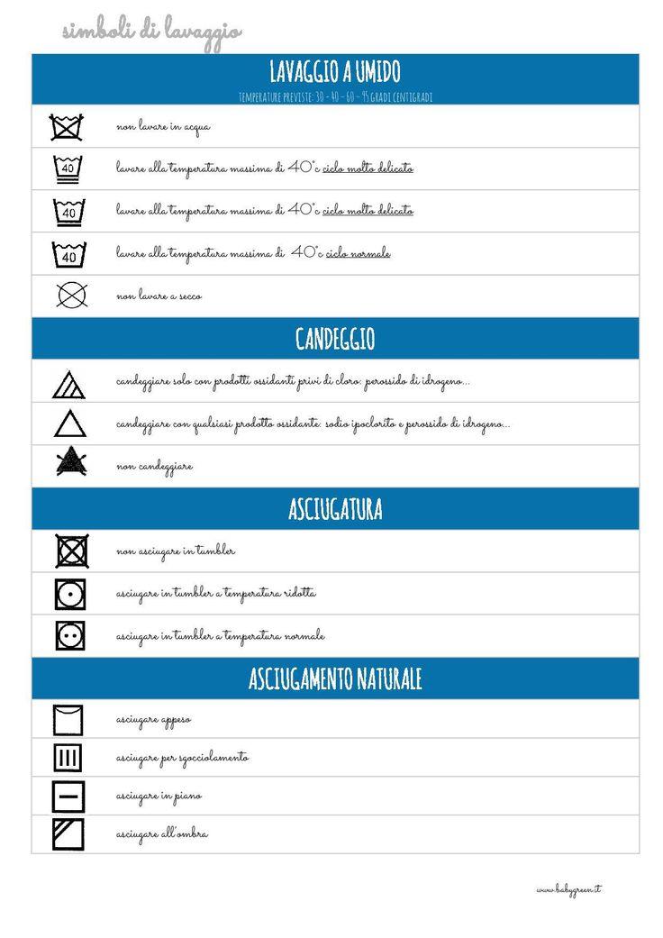 Avete un po' di spazio vicino alla lavatrice? Potete appendere questo pdf…serve per decifrare i simboli che troviamo sulle etichette dei vestiti ed evitare danni… Io lo sto usando da un po', insieme alla tabella delle macchie: due strumenti utili per casalinghe negate (come me) ma che vogliono impegnarsi! Ho inserito anche i simboli per …