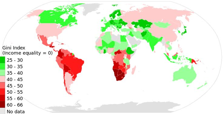 2014 Gini Index World Map, income inequality distribution by country per World Bank - 国の所得格差順リスト - Wikipedia