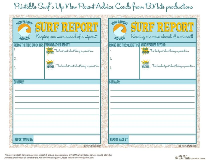 Free Printable Surf Report: New Parent Advice Card