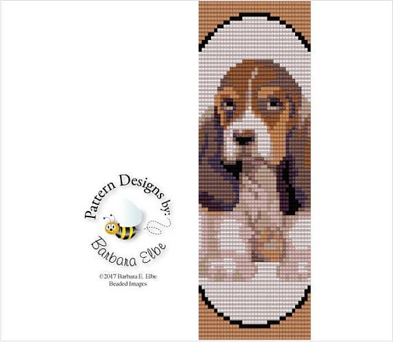 "Basset Hound Puppy Beaded Cuff or Bracelet Loom or Square Stitch #408 2 Page Bead Graph - A Large Color Coded & Numbered Graph of the Pattern Made using Size 11/0 Delica Beads Stitch: Loom or Square Stitch Width: 2"" Length: 6"" Colors: 10 This PATTERN is in PDF format downloadable"