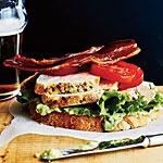 Open faced chicken club sandwiches use onion jam recipe!   http://www.myrecipes.com/recipe/sauteed-chicken-onion-jam-50400000118592/