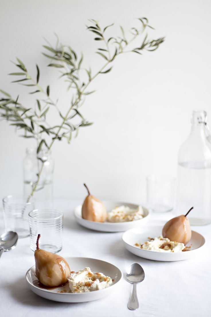 Poached Pears with Pistachio Praline