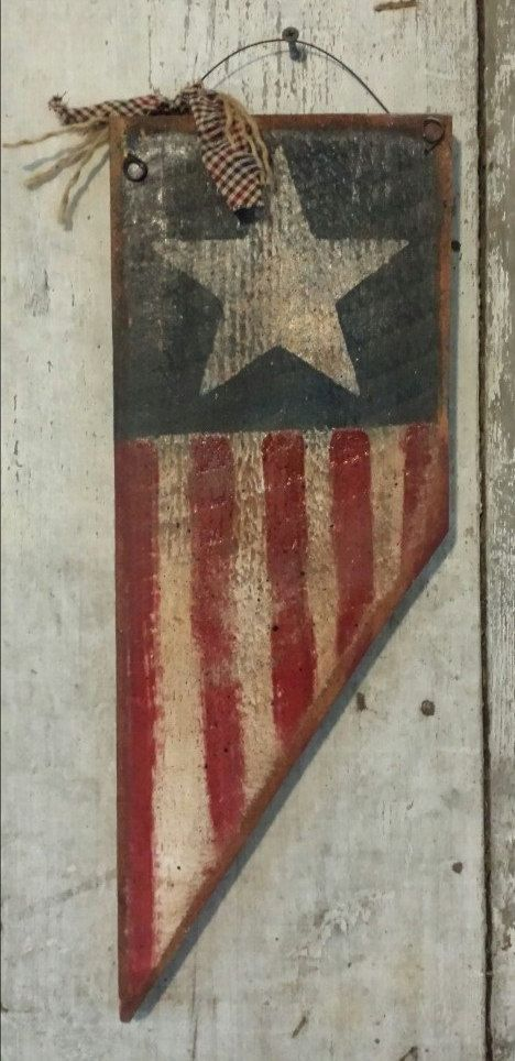 Primitive USA Flag,  USA  Flag, Primitive Pendent, USA Sign, Stars and Strips, Patriotic, Hand Painted,  Wood, Barn Board by FlatHillGoods on Etsy