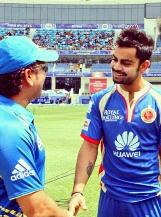 VK and his mentor, Sachin Tendulkar! <3 #mydubai IPL 2014