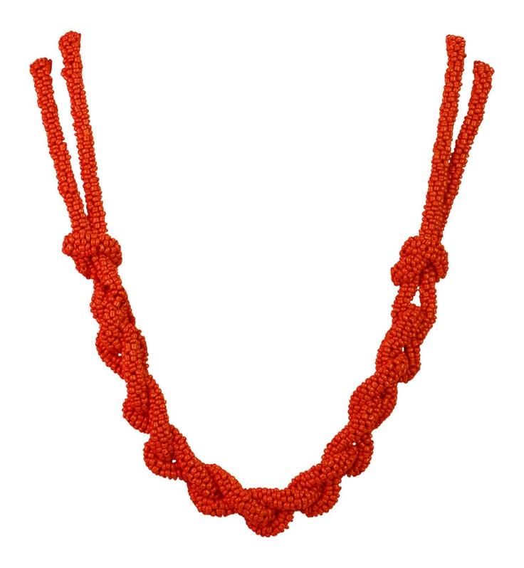 Fun Orange Plait Necklace