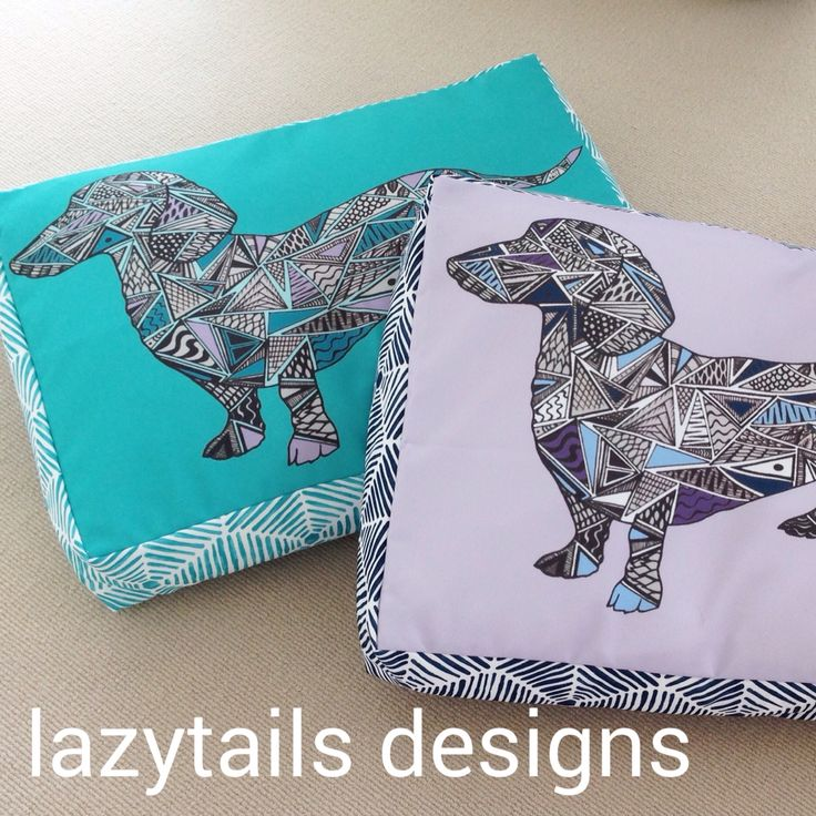 Dachshund designs in teal and lilac