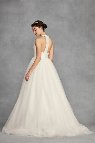 136824b554304 An exaggerated, removable tulle bow and covered buttons soften the. This  White by Vera Wang ball gown ...