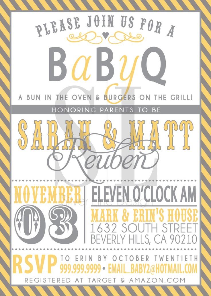 couples bbq baby shower invitation via etsy