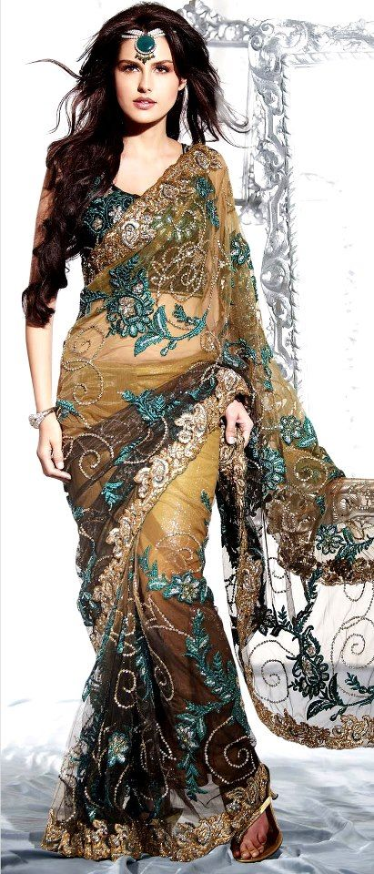 Light Olive Green and Cocoa Net Saree With Blouse