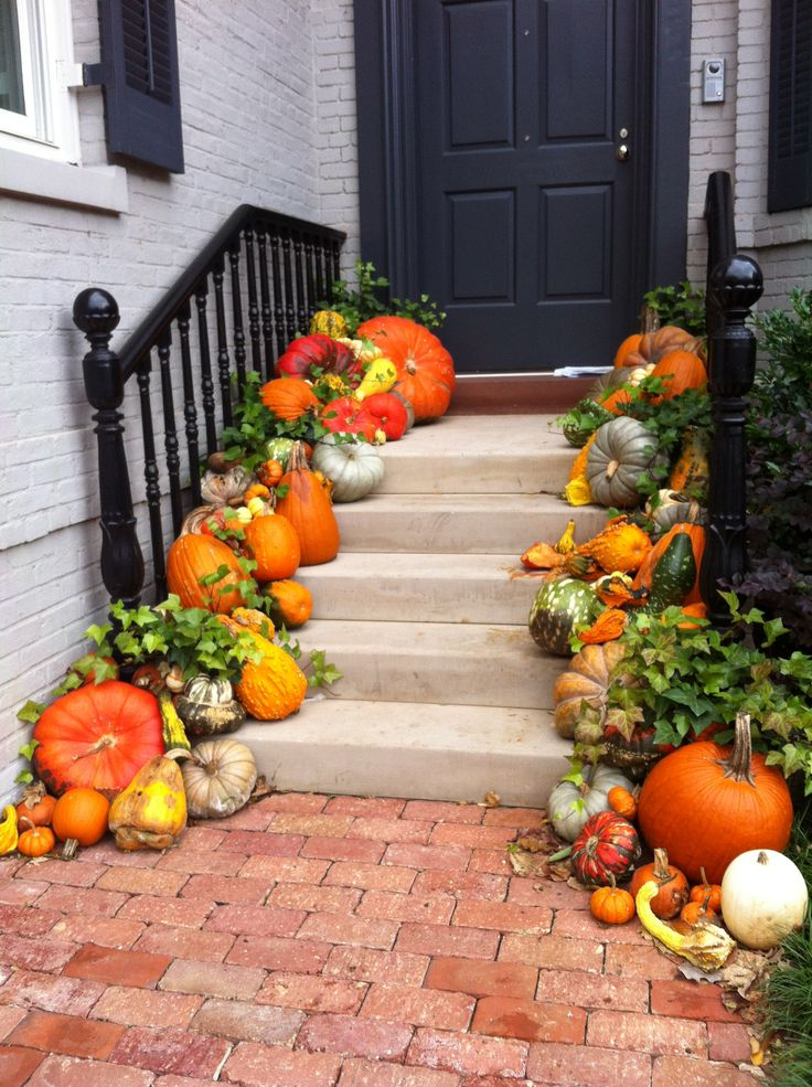 Front Door Entry Stairs Adorned For Fall With A Myriad Of