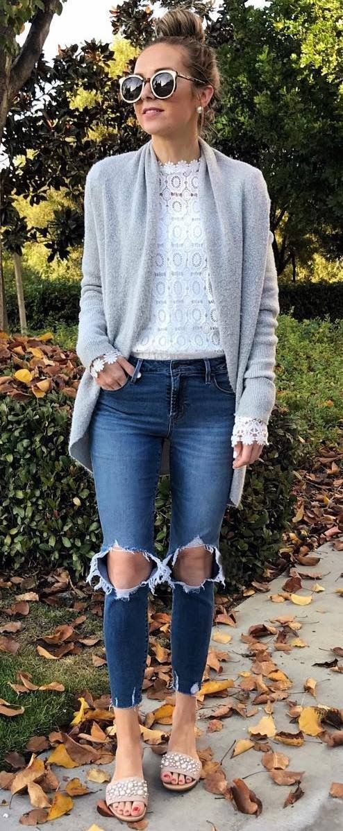 trendy spring outfit / grey cardigan + white lace top + distressed jeans + flip flop