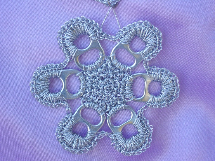 crocheted pop top snowflake