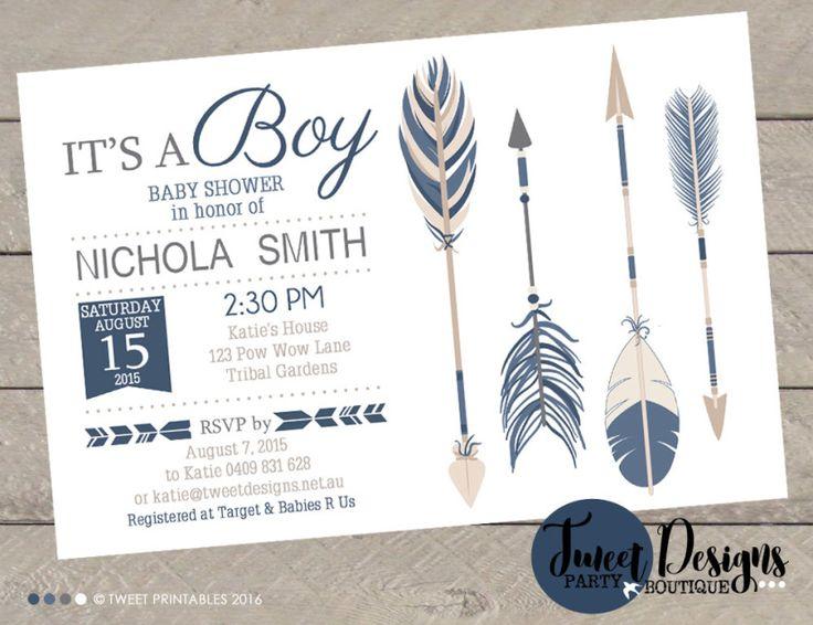 Tribal Baby Shower Invitation, Boy Tribal Arrow Baby Shower Invitation