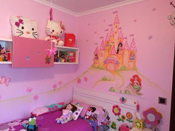 Castillo de princesas para habitacion infantil murales for Mural para habitacion