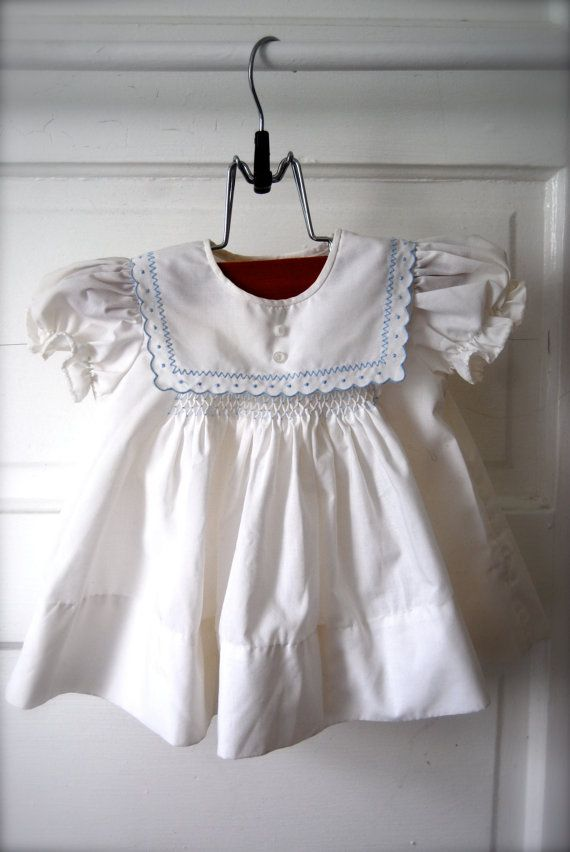 Pretty White and blue vintage baby dress