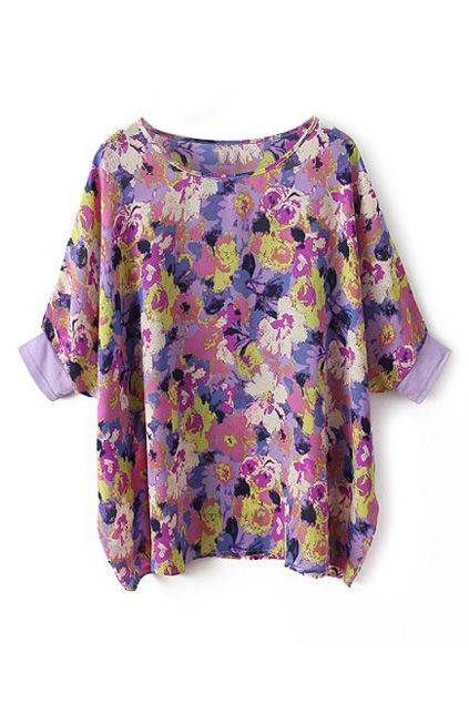 ROMWE | ROMWE Floral Print Batwing Sleeves Purple Blouse, The Latest Street Fashion