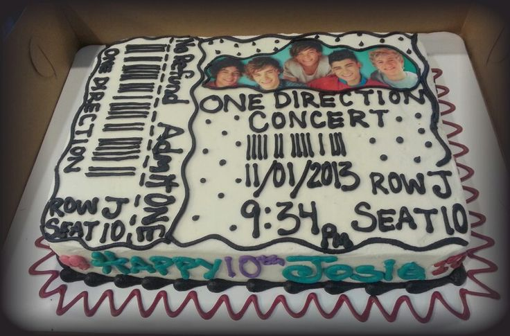 One direction concert ticket cake