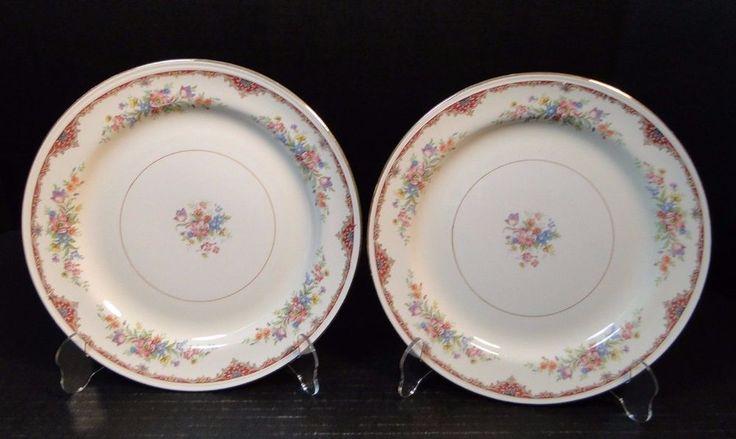 """Homer Laughlin Eggshell Nautilus Ardmore Dinner Plates 9 7/8"""" N1583 TWO NICE! #HomerLaughlin"""
