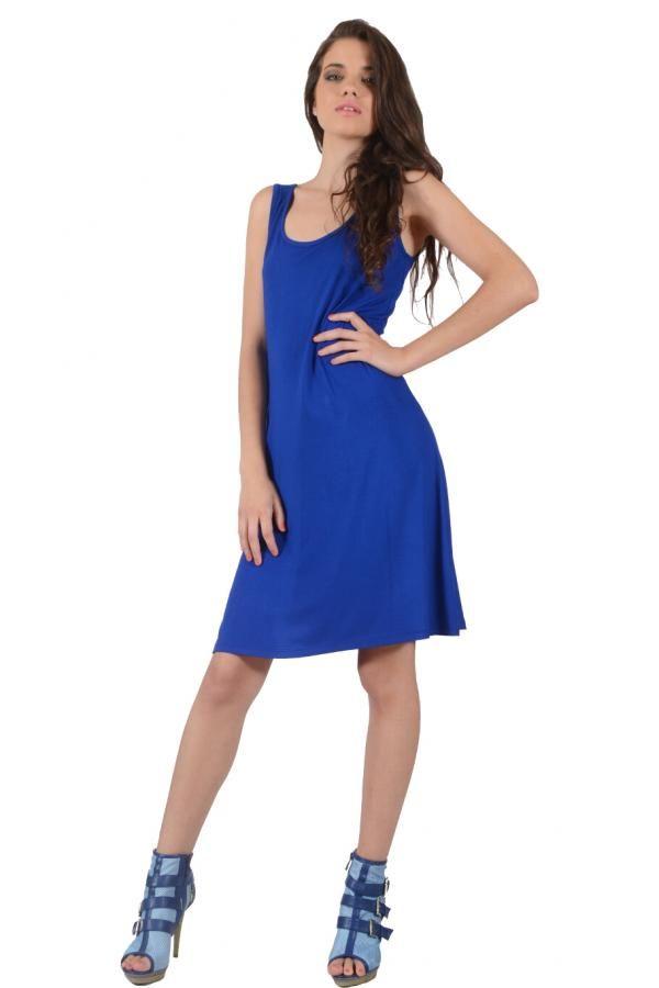 Φόρεμα βισκόζ μονόχρωμο σε Α γραμμή κοντό με παπιόν στην πλάτη