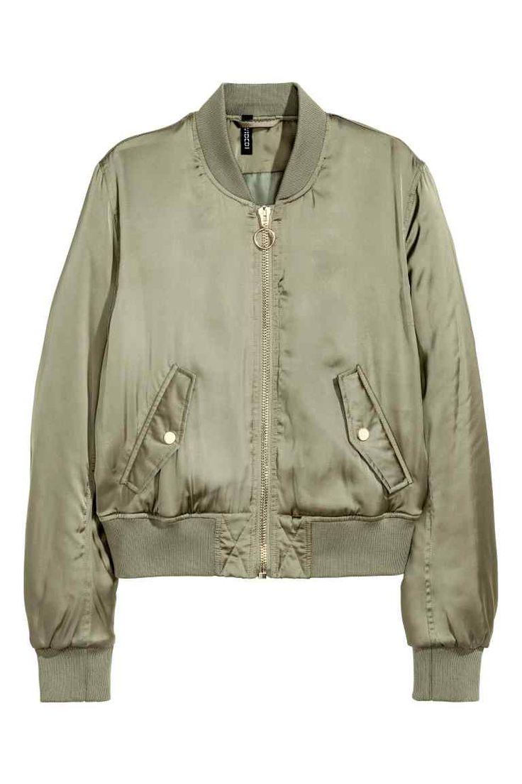 Padded bomber jacket - Khaki green - Ladies | H&M CN