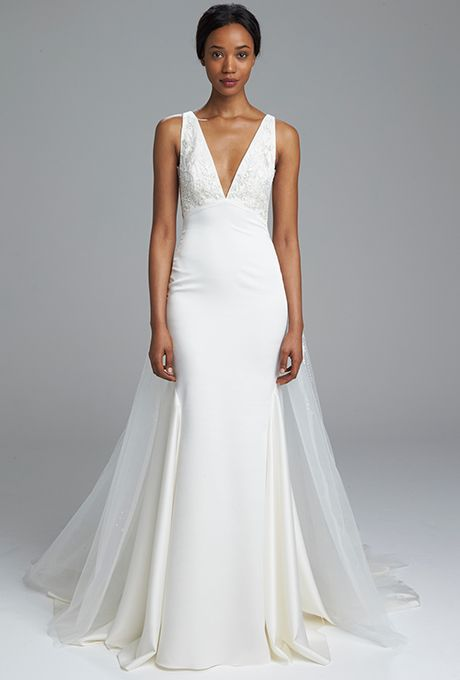"""Brides.com: . """"Asia"""" stretch charmeuse fit and flare gown with hand-beaded bodice and hand beaded detachable skirt, Kenneth Pool"""