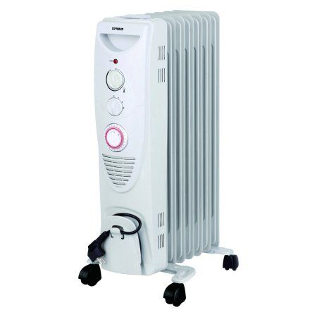 Optimus H-6013 Portable 7 Fins Oil Filled Radiator Heater with Timer, White